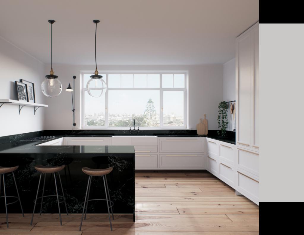 u-shape kitchen in Caesarstone 5101 Empira Black